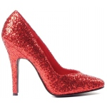 Women's Red Glitter Pumps 9: Red, 9, Everyday, Female, Adult