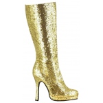 Women's Gold Glitter Boots 7: Gold, 7, Everyday, Female, Adult