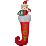 Airblown Hanging Teddy Bear in Stocking: Red, Christmas, Unisex
