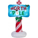 Airblown Outdoor North Pole Sign: Blue, Christmas, Unisex