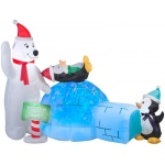 Animated Projection Airblown - Polar Bear and Penguins with Kaleidoscope Igloo: Blue, Christmas, Unisex