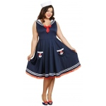 All Aboard Sailor Dress and Hat Adult Costume 1X/2X: Plus 1X/2X, Everyday, Adult