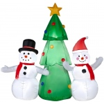 Airblown Snowman Family with Tree: Multi-colored, Christmas, Unisex