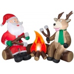 Projection Airblown Fire and Ice - Santa and Reindeer Camping: Multi-colored, Christmas, Unisex