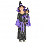 Spider Web Silver Printed Witch Costume M (8-10) with Matching 18 Doll Costume: Everyday, Female, Child
