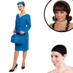 Retro Glam Airline Stewardess Adult Costume Kit S: Small, Everyday, Adult