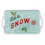 BuySeasons Let it Snow! Rectangle Melamine Tray Blue