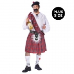 Big Shot Scot Adult Plus Costume: Red/White, Plus, Everyday, Male, Adult