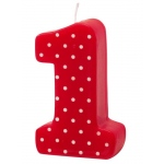 Creative Converting #1 Red Polka Dot Candle