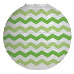 "Creative Converting 12"" Round Paper Chevron Lantern - Fresh Lime White/Green"