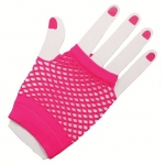 Forum Novelties 80's Neon Pink Short Fishnet Adult Gloves One Size