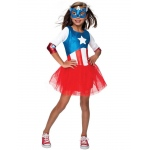 American Dream Metallic Captain America Girls Child Costume L: Large, Everyday, Child