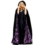 "PIZAZZ 63"" Deluxe Cape Black Velvet W/ Purple satin lining One-Size"