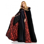 "PIZAZZ 63"" Deluxe Cape Black Velvet W/ Red Satin lining One-Size"