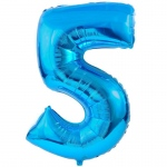 Birthday Express #5 Blue Foil Balloon Blue