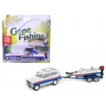 "1979 International Scout Gloss White w/Red & Blue Stripes with Boat & Trailer ""Gone Fishing"" Limited to 2508pc 1/64 Diecast Model Car by Johnny Lightning"