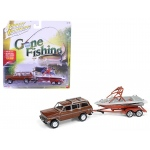 "1981 Jeep Wagoneer Copper Brown with Boat & Trailer ""Gone Fishing"" Limited to 2508pc 1/64 Diecast Model Car by Johnny Lightning"