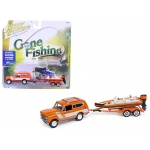 "1979 International Scout Orange w/White Stripes with Boat & Trailer ""Gone Fishing"" Limited to 2508pc 1/64 Diecast Model Car by Johnny Lightning"
