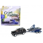 "1981 Jeep Wagoneer Midnight Blue with Boat & Trailer ""Gone Fishing"" Limited to 2508pc 1/64 Diecast Model Car by Johnny Lightning"