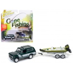 "1979 International Scout Emerald green Poly with Bass Boat ""Gone Fishing"" 1/64 Diecast Model Car by Johnny Lightning"