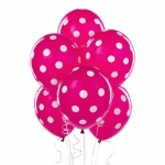 Berry with White Polka Dots Latex Balloons (6): White, Birthday