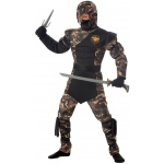 Special Ops Ninja Child Costume: Black/Brown, Husky, Everyday, Male, Child