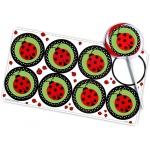 Birthday Express Ladybug Large Lollipop Sticker Sheet: Red/Green, 8 Pieces