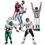 "20"" Football Figure Cutouts (4 count): Birthday, Unisex, Child"