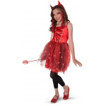 Dazzling Devil Light-Up Child/Tween Costume: Red, Medium, Halloween, Female, Child