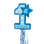 Blue 1st Birthday Pull String Pinata: