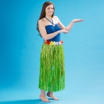 "Adult 36"" Artificial Green Grass Hula Skirt with Floral Waistband"