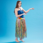 "Adult 36"" Artificial Multi-color Grass Hula Skirt with Floral Waistband"