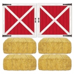 Barn Loft Door and Hay Bale Props Add-Ons: Red, Birthday