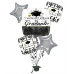 Black and White Graduation Balloon Bouquet