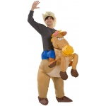 Riding on Horse Illusion Inflatable Adult Costume One-Size:One-Size