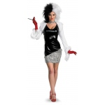 101 Dalmations: Curella De Vil Fab Deluxe Adult Costume: Black/White, M, Everyday, Female, Adult