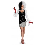 101 Dalmations: Curella De Vil Fab Deluxe Adult Costume: Black/White, L, Everyday, Female, Adult