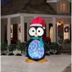 Large Penguin with Kaleidoscope Lights Airblown Yard Decoration: