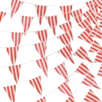 100 Foot Pennant Banner, Red & White Stripe