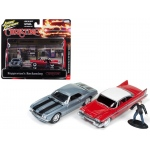 "1967 Chevrolet Camaro and 1958 Plymouth Fury with Figurines from ""Christine"" Movie 1/64 Diecast Model Cars by Johnny Lightning"