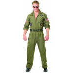 Mens Top Gun Costume - Small: Green, Small, Everyday, Male, Adult