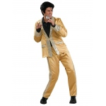 Elvis Presley Gold Satin Deluxe Adult Costume M: Medium, Everyday, Adult