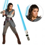 Star Wars Ep VIII: The Last Jedi - Women's Super DLX Rey Costume with Wig and Lightsaber - Large: Multi-colored, Large, Halloween, Female, Adult