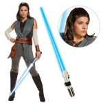 Star Wars Episode VIII: The Last Jedi - Women's Deluxe Rey Costume with Wig and Lightsaber - Large: Multi-colored, Large, Halloween, Female, Adult