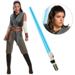 Star Wars Episode VIII: The Last Jedi - Women's Classic Rey Costume with Wig and Lightsaber - Medium: Multi-colored, Medium, Halloween, Female, Adult