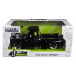 1955 Chevrolet Stepside Pickup Truck Black with Black Wheels 1/24 Diecast Car Model by Jada