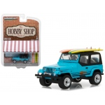"1987 Jeep Wrangler YJ Blue with Surf Board ""The Hobby Shop"" Series 2 1/64 Diecast Model Car by Greenlight"