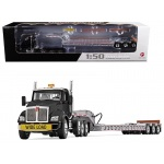 Kenworth T880 Tri Axle Lowboy Trailer Black/Silver 1/50 Diecast Model by First Gear