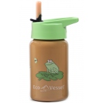 Eyla's Eco Vessel Scout Kids Stainless Steel Bottle with Straw Top: Orange Frog, 13oz / 400ml