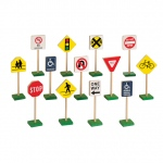 "Guidecraft 7"" Block Play Traffic Signs: 13 signs, 7"" tall, colorful, sturdy non-tip base (G309)"